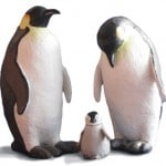 Paper Mache Penguin Family Sculptures