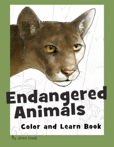 Endangered Animals Color and Learn Bood